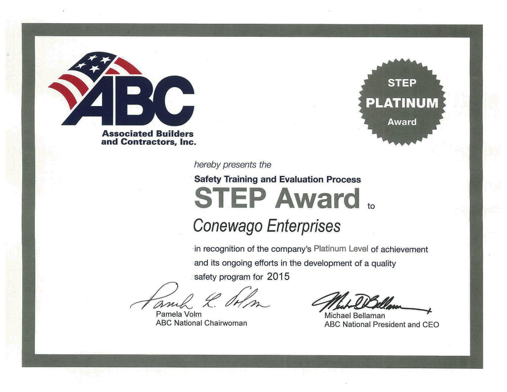 Associated Builders and Contractor's Platinum Step Award-Safety Training and Evaluation Process